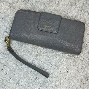 Fossil Grey Leather Large Wallet